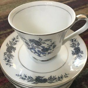Set of 5 Vintage Canton Blue China Cup & Saucer